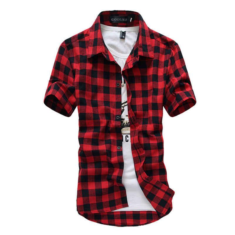 新メンズシャツ半袖チェック柄ボタンダウン夏カジュアルトップスティーメンズラグビークラシックシャツ服ホットm-3XL