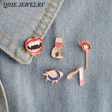QIHE JEWELRY 1 Set Sexy Retro Style Red Lips Wine Cigarette Matches Eyes Brooch Jacket Collar Bag Hat Tie Tack Lapel Jewelry