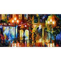 아름다운 풍경 그림 밤 문 팔레트 나이프 아트 캔버스 벽 거실