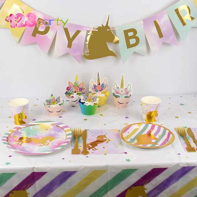 123 Party Unicorn Decor Birthday Latex Balloons Theme Paper Hat Napkins Plate Table Cloth