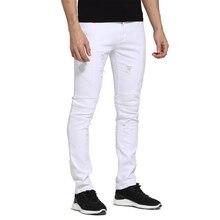 Мужчин Джинсы Белый Дизайн Slim Fit Тощий Разорвал Повседневная Байкер Джинсы Для Мужчин H1705