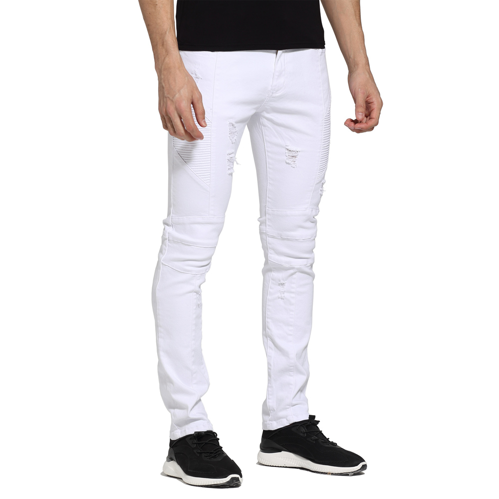 Men   Jeans   White Design Slim Fit Skinny Ripped Casual Biker   Jeans   For Men H1705