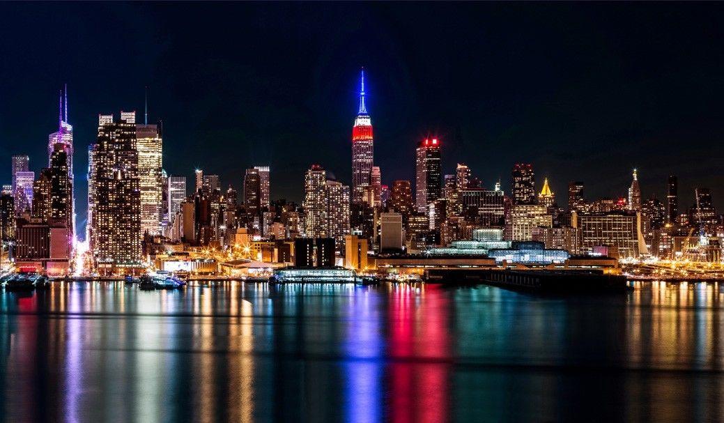 New York City Night Cityscape Fabric Poster 40 X 24