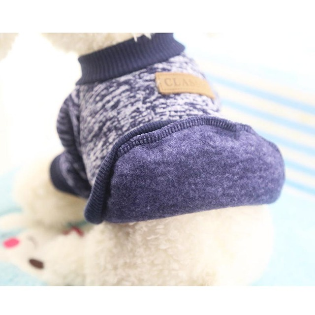 XS-2XL Winter Warm Dog Clothes Puppy Jacket Coat Soft Dog Shirts Solid Color Puppy Sweater For Chihuahua Yorkie