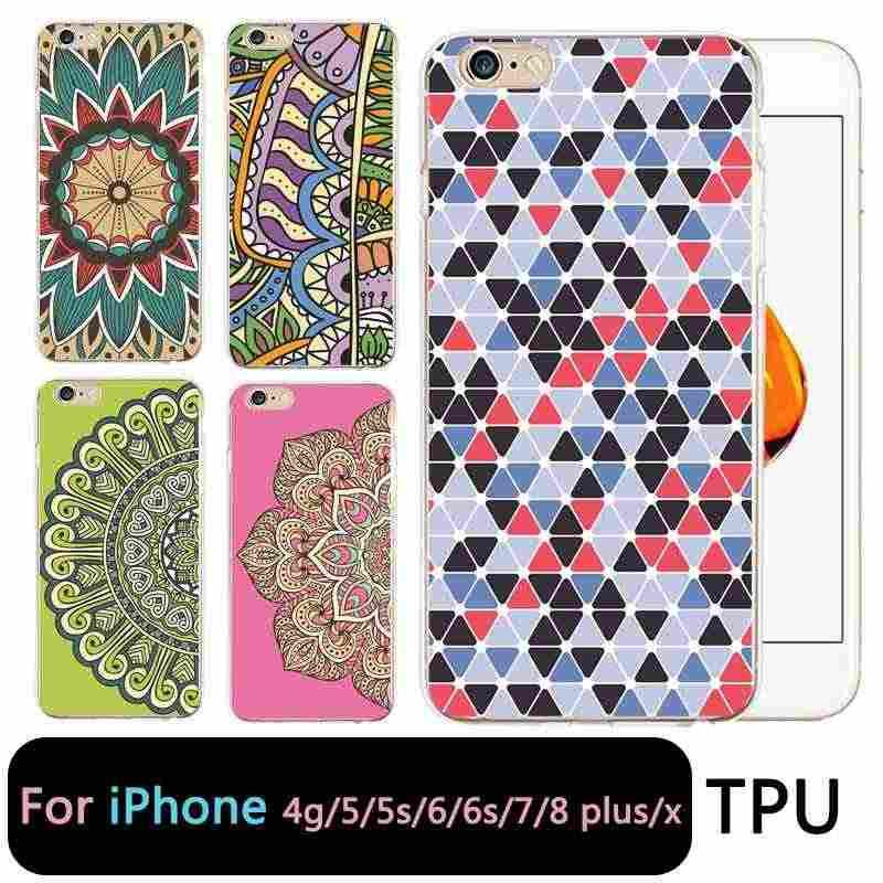 QMSWEI TPU Clear Telefoon Case Voor iPhone 6G 6 s 7 8 plus x zachte Mandala Flora Leuke Siliconen Gedrukt Cover iphone 4 5se 6 Plus 7 P