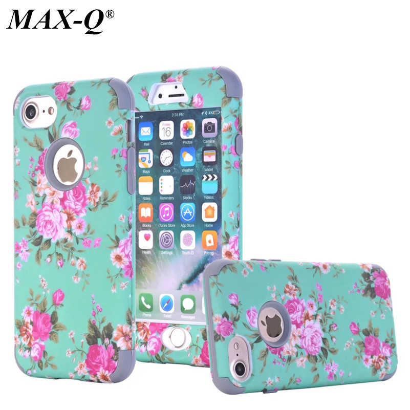 MAX-Q Orchid Flower Case For iPhone 7/7 Plus 3 in 1 Armor Defender Anti Scratch Shock Resistant Hybrid Hard Silicon Cover Shell
