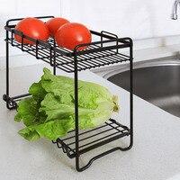 2 Layers Condiment Holder Iron Storage Rack Spice Basket Desk Storage Holder Rack Kitchen Bathroom Organizer Shelf Accessories
