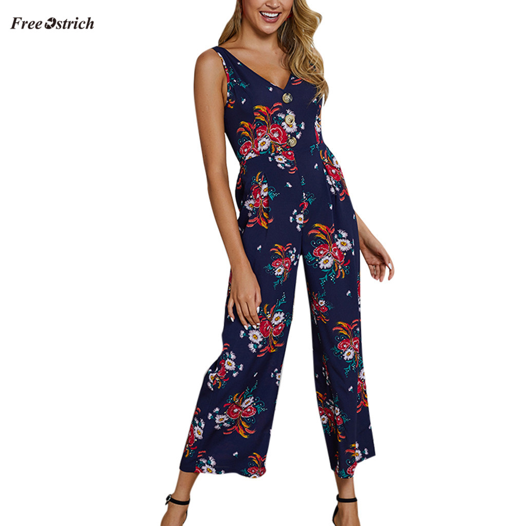 Womens Summer Sleevless Floral Jumpsuit Wide Leg Culotte Pants Playsuit Romper