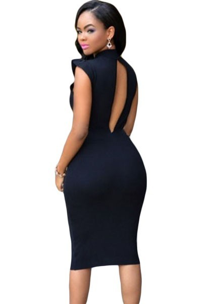 бесплатная доставка 2016 новинка черный рюшами рукава тела - тела-сознавая миди платье na60882