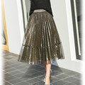 2017 New Fashion Long Tutu Skirt Women High Waist Pleated Skirt Ladies Stree Wear Black Gold Midi Skirt Summer Saias Jupe Femme