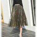 2017 Nova Moda Longo Tutu Saia Mulheres De Cintura Alta Saia Plissada senhoras Stree Desgaste Preto Ouro Midi Saia de Verão Saias Jupe Femme
