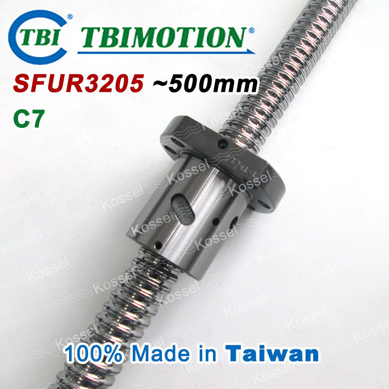 TBI 3205 C7 500mm ball screw 5mm lead with SFU3205 ballnut of SFU set end machined for high precision CNC diy kit винт tbi sfkr 0802t3d