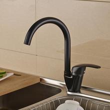 Бесплатная Доставка Полированный Черный Латунь Поворотный Кухня смесители для Раковины Кран 360 градусов вращающийся Кухонный Смеситель раковина, смеситель воды