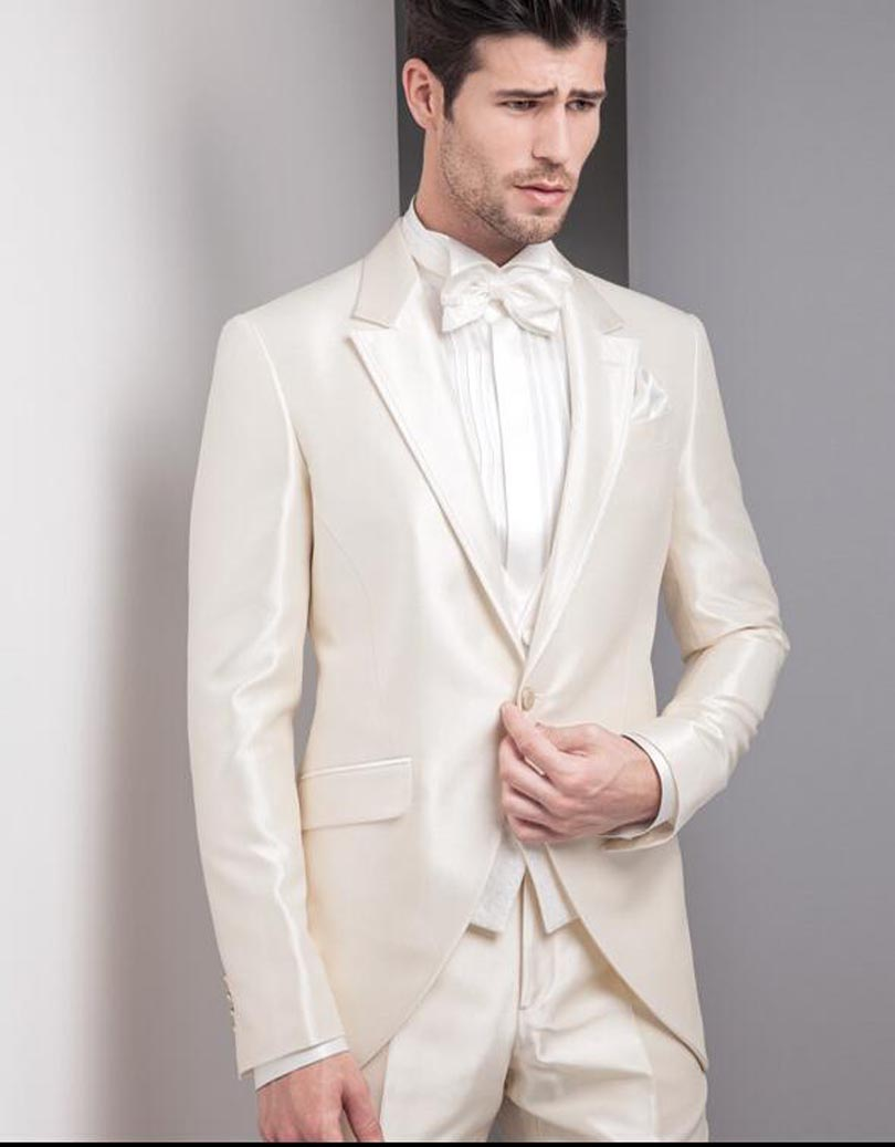 Beige ivory tuxedos 2018 best design one button men suits for ...