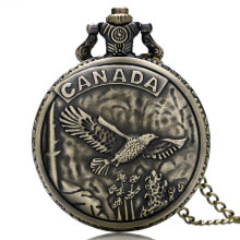 Retro Bronze CANADA Eagle Case Design Cool Quartz Pocket Watch High Quality Fob Watches with Necklace Chain for Men Boys(China)