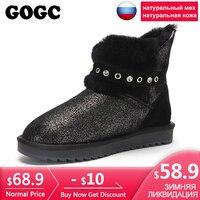 GOGC/Блестящие ботильоны из натуральной кожи сезона 100% г. женские зимние ботинки на меху, украшенные кристаллами, женские роскошные зимние бо