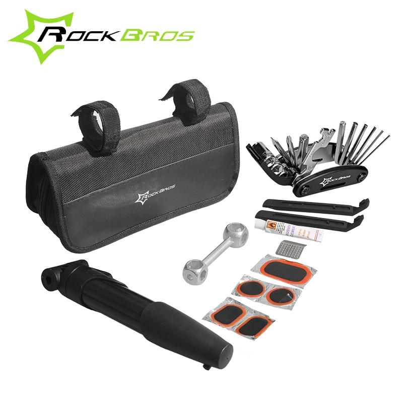 ROCKBROS 16 In 1 Mini Bike Tire Repair Tools Kit Multifunktions Fahrradreparaturwerkzeuge Radfahren Werkzeuge Mit Fahrradpumpe Herramientas