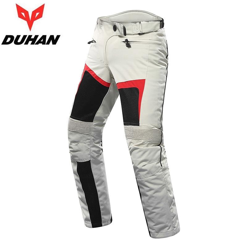 Bege calças de Verão Respirável dos homens DUHAN moto rcycle moto cross com borracha na altura do joelho, equipamento moto calças roupas M L XL XXL