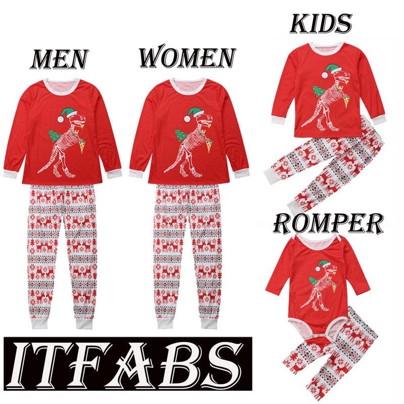 amily Christmas Pajamas Set Father Mother Kids Cartoon Xmas