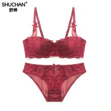 SHUCHAN Bra+panties 2018 New Arrival Suspenders Lace Bra Set Panties Womens Underwear & Brief Sets Lingerie 28834