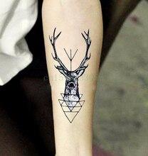 Etiqueta Do Tatuagem Temporária à prova d' água cabeça elk cervos chifre chifres flash do tatuagem de Transferência da Água tatuagem falsa tatuagem dólares para homens menina(China (Mainland))