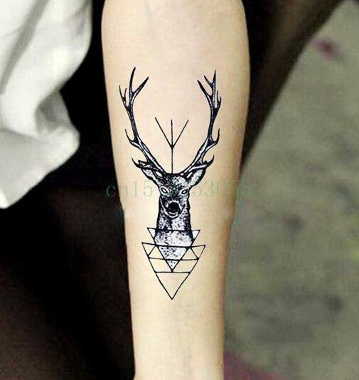Etiqueta Do Tatuagem Temporária à prova d' água cabeça elk cervos chifre chifres flash do tatuagem de Transferência da Água tatuagem falsa tatuagem dólares para homens menina
