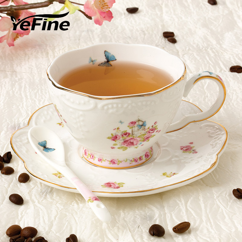 YeFine Ceramics Creative Embossment Design Bone China Cups And Saucers Ceramic Coffee Cup Set Porcelain Spoon
