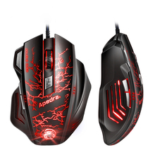 цена на APEDRA USB Wired Gaming Mouse 7Buttons 3200DPI Optical Computer Mouse Gamer Mice for PC Laptop Game LOL CSGO Dota 2 Game Mouse