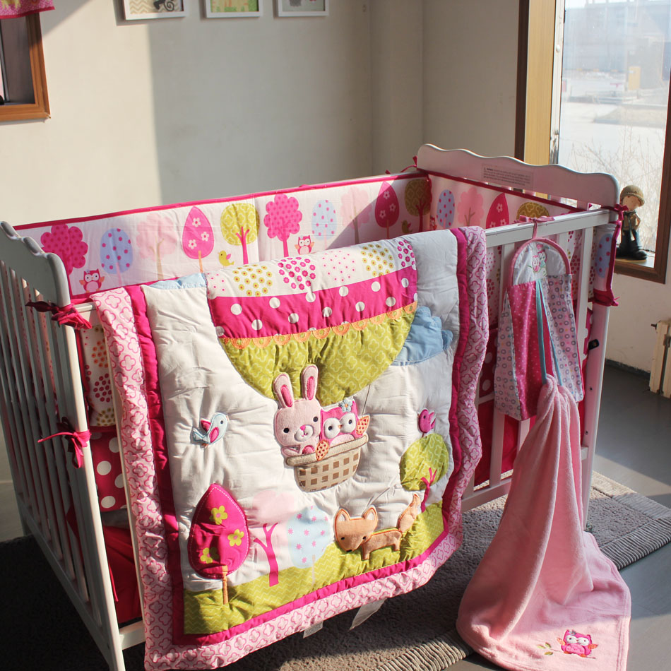Baby girl cot bed bedding sets - 8 Pieces Cotton Baby Bedding Set Embroidery 3d Hot Air Balloon Rabbit Fox Owl Quilt Bedskirt Bumper Blanket Crib Bedding Set