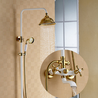 Retro Style Antique Brass White Paint Gold Plated Shower Set Cold And Hot Water Brass Hand