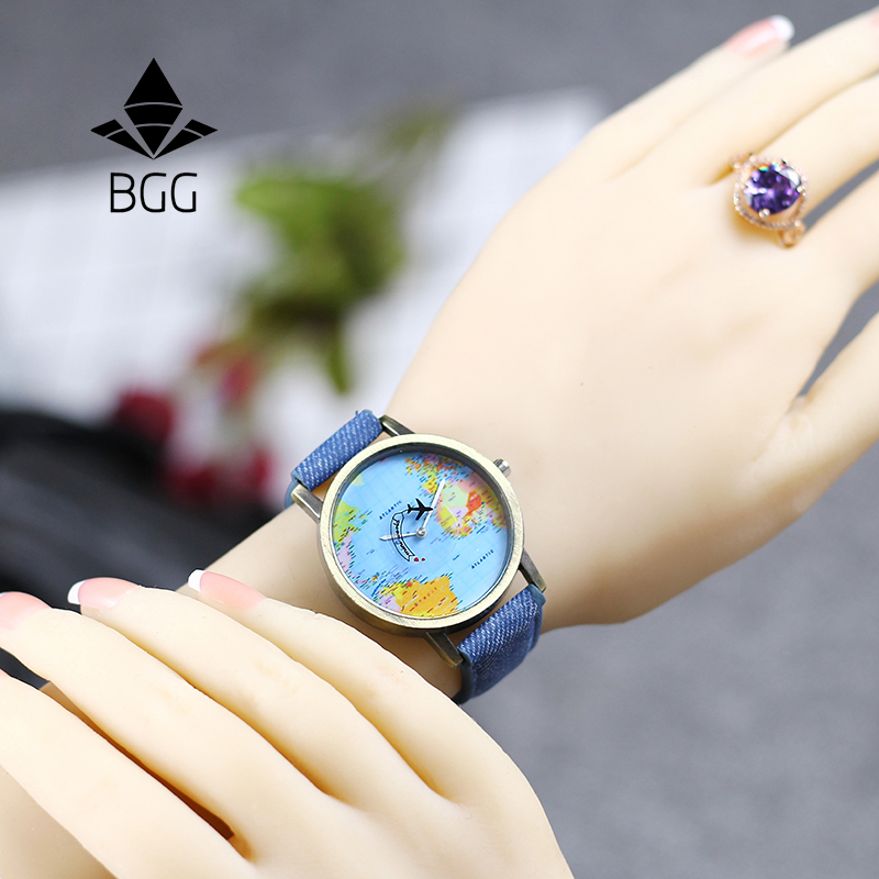 Copper Dial BGG Brand Watches Fabric Luxury Word Map The Plane Second Pointer Faux Jeans Strap Fashion Men Women Quartz Watch