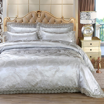 Juego de fundas de edredón de encaje Jacquard, textiles para el hogar, juego de cama de plata, ropa de cama de 4 uds, funda de cama europea de lujo de sábana plana y dorada con festón