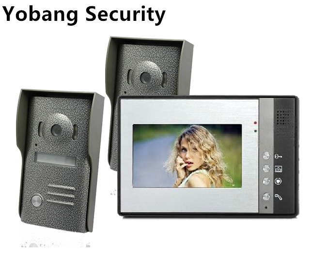 Yobang Security 7 Monitor Wired Video Intercom Doorbell phone for home security systems 2- Camera 1-monitor Video Door Bell
