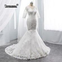 В стиле Русалочки без спины свадебное платье накладные аппликации на половину рукава Свадебные платья, платья невесты v-образный вырез винтажное свадебное платье Vestidos De Novia