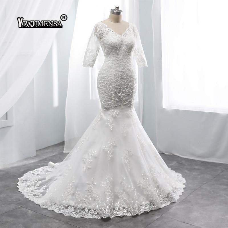 Backless Wedding Dresses 2019: Sexy Backless Mermaid Wedding Dress 2019 Appliques Short