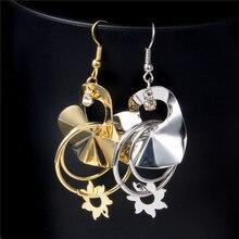 Unique Gold-Color Sun Flower Earrings Indian Jewelry Wholesale Heart Fashion Jewelry For Women Drop Earrings For Women