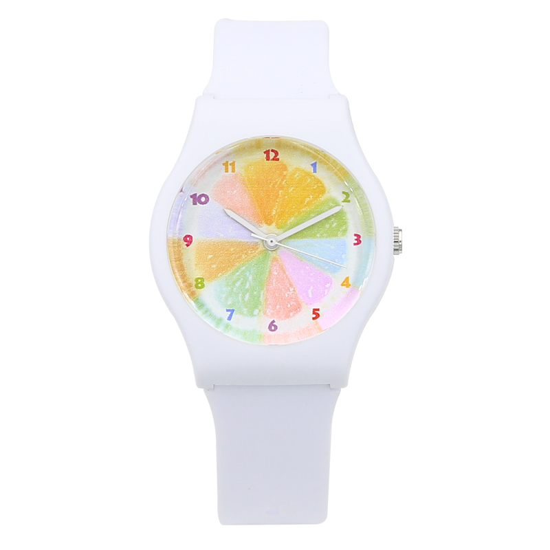 New Fashion Creative Harajuku Söt Orange Vattentålig Sport Barn Jelly Watch Mini Women Girls Transparent Watch