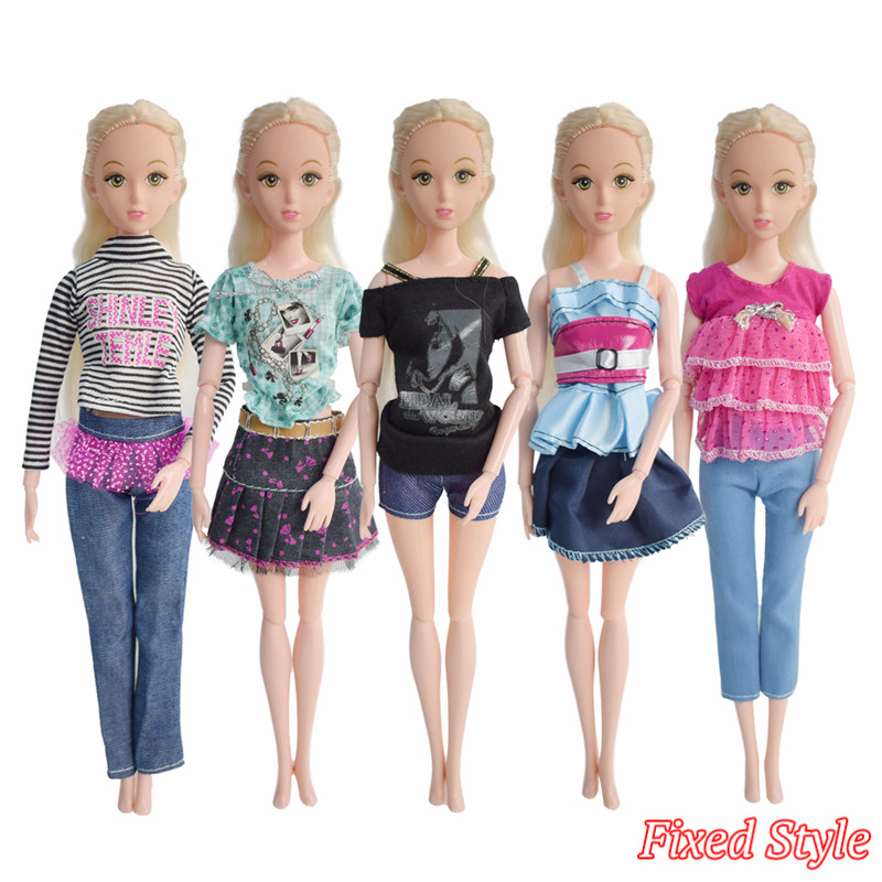 Fixed Style 5 Pcs Fashion Beautiful Handmade Barbie Doll Dresses Dolls Clothes Accessories For