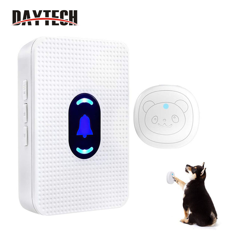 DAYTECH Door Bell With Wireless Touch Dog Bells Wireless Doorbell For Potty Training Dog Training Door Bells LED Indicator