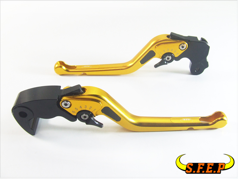 3D Long CNC Adjustable Motorcycle Brake and Clutch Levers with Carbon Fiber Inlay For Kawasaki ZX7R / ZX7RR 1989-2003