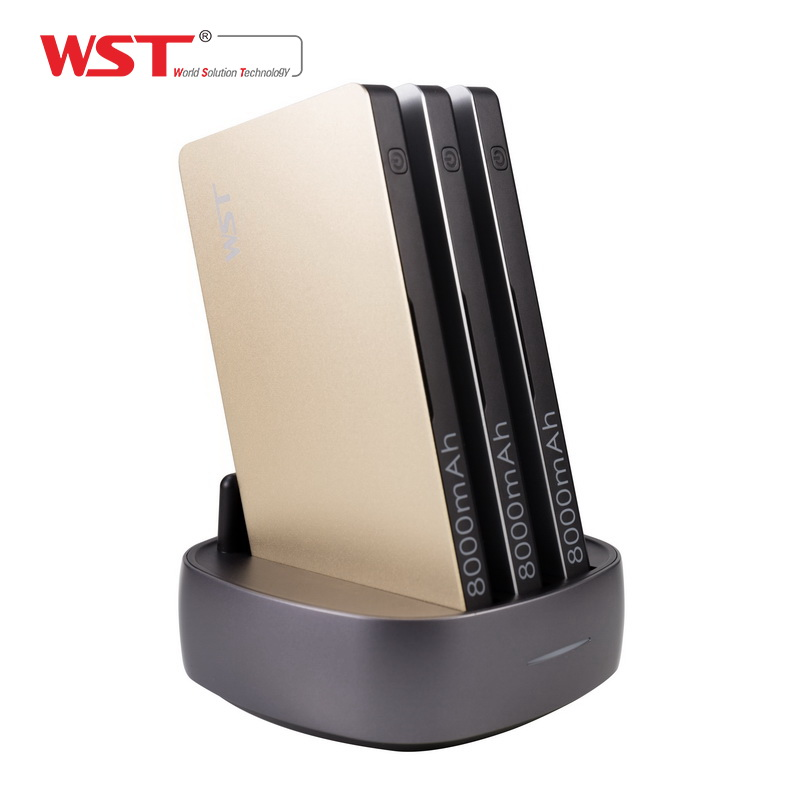 WST портативное зарядное устройство для семейного общественного бизнеса 3 шт. 8000 мАч power Bank со встроенным зарядным кабелем Зарядное устройств