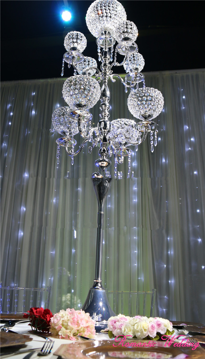 2PCS/lot On Sale Gold/Silver High 59tall Candelabras 9 Arms Metal Crystal Candle Balls for Wedding party event decoration
