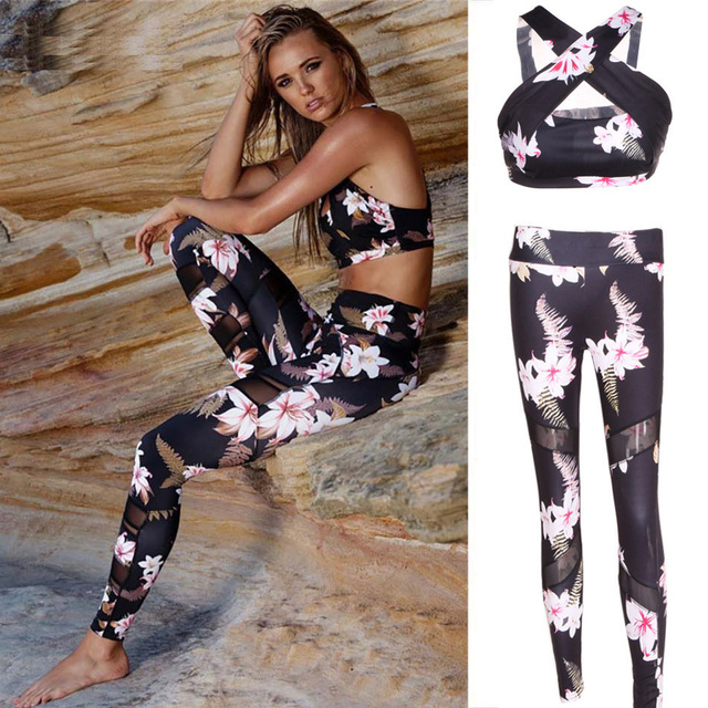 Tracksuit For Women Yoga Sets Floral Print Women Sports Bra Mesh Legging Pant Sport Suit Women Sport Gym Set Women Sportswear