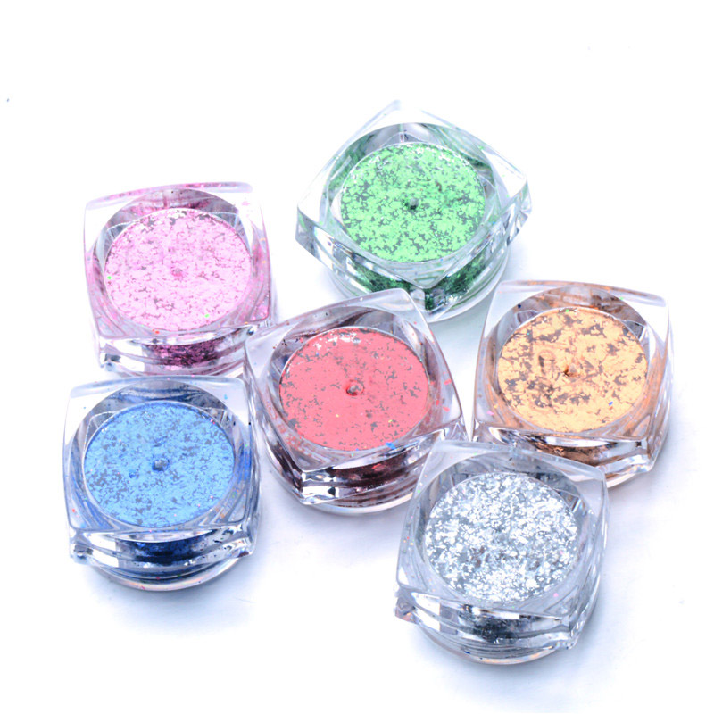 0 2g Magic Mirror Chameleon Glitter Nail Flakes Sequins Powder Gold Silver Irregular Paillette Manicure Nail Decoration in Nail Glitter from Beauty Health