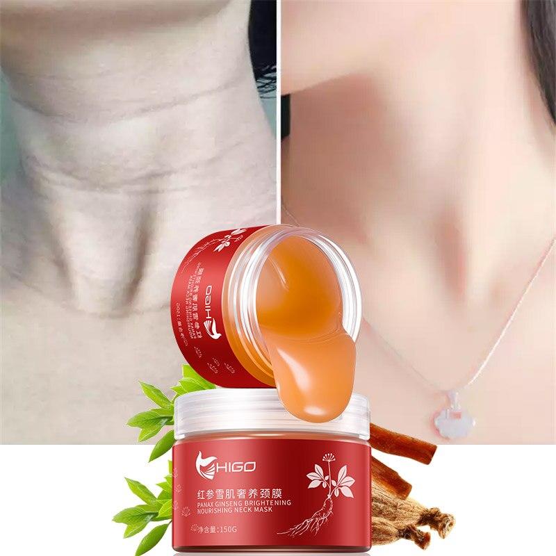 Ginseng rojo cuello Crema de cuidado de la piel Anti-arrugas blanqueamiento hidratante reafirmante cuello salud cuello piel delicada y resbaladizo