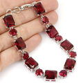 "Fashion Jewelry Pink Raspberry Rhodolite Garnet Created SheCrown Woman's Engagement  Bracelet 7.5"" 26x9mm"