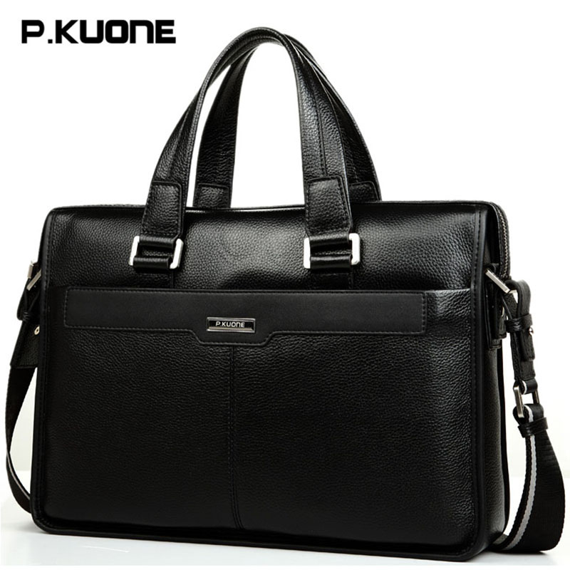 Fashion Genuine Cow Leather Men Bag P.KUONE Business Briefcase Handbag Cowhide 14' Laptop Bags Men's Travel Shoulder Bag 2016