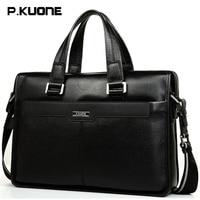 Fashion Genuine Cow Leather Men Bag P KUONE Business Briefcase Handbag Cowhide 14 Laptop Bags Men