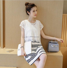Summer Clothes Lactation Striped Fashion Lace Short Sleeve Dress Feeding Breastfeeding Clothes Pregnant To Go Out O-Neck Dresses