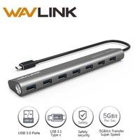 Wavlink USB 3.1 Type C à 7-port Sans Fil USB 3.0 Hub Corps en aluminium 5 V/4A Adaptateur Sans Fil Usb Hub pour PC Macbook Chromebook